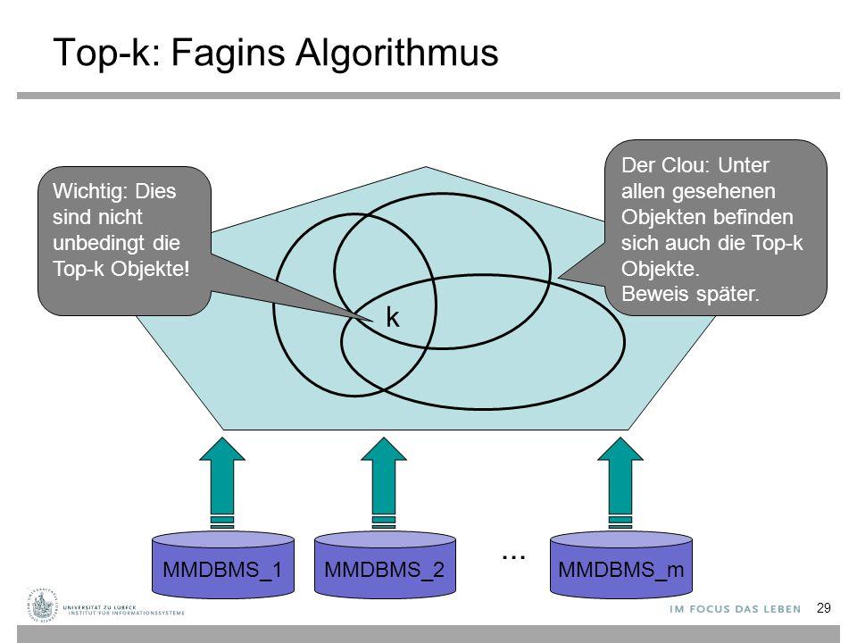 29 Top-k: Fagins Algorithmus MMDBMS_1MMDBMS_2MMDBMS_m... k Wichtig: Dies sind nicht unbedingt die Top-k Objekte! Der Clou: Unter allen gesehenen Objek