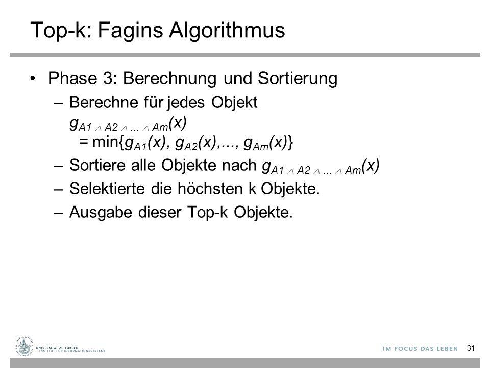 31 Top-k: Fagins Algorithmus Phase 3: Berechnung und Sortierung –Berechne für jedes Objekt g A1  A2 ...  Am (x) = min{g A1 (x), g A2 (x),..., g Am