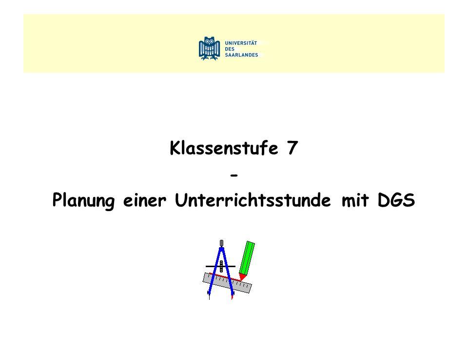 Klassenstufe 7 - Planung einer Unterrichtsstunde mit DGS