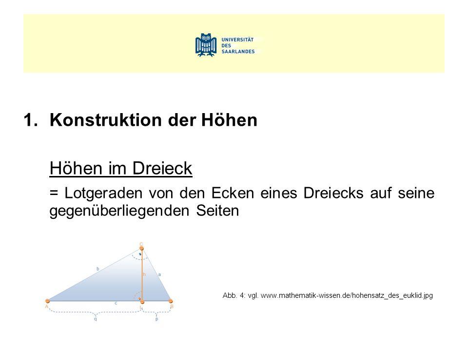 1.Konstruktion der Höhen Höhen im Dreieck = Lotgeraden von den Ecken eines Dreiecks auf seine gegenüberliegenden Seiten Abb. 4: vgl. www.mathematik-wi