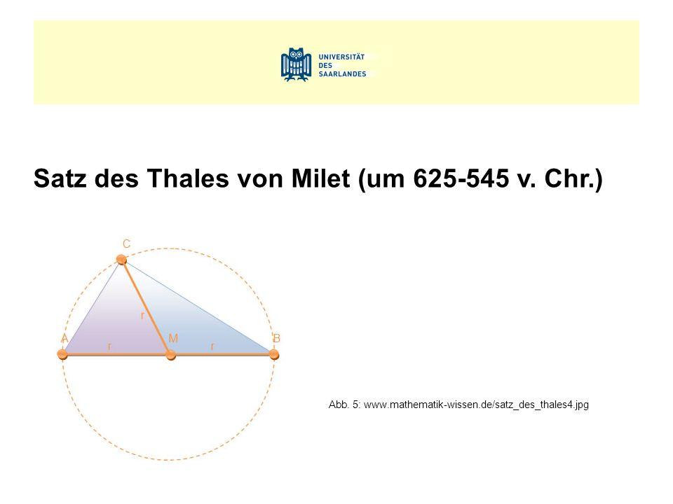 Satz des Thales von Milet (um 625-545 v. Chr.) Abb. 5: www.mathematik-wissen.de/satz_des_thales4.jpg