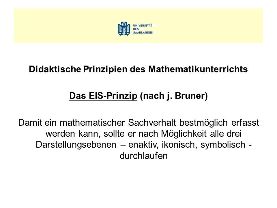 Didaktische Prinzipien des Mathematikunterrichts Das EIS-Prinzip (nach j. Bruner) Damit ein mathematischer Sachverhalt bestmöglich erfasst werden kann