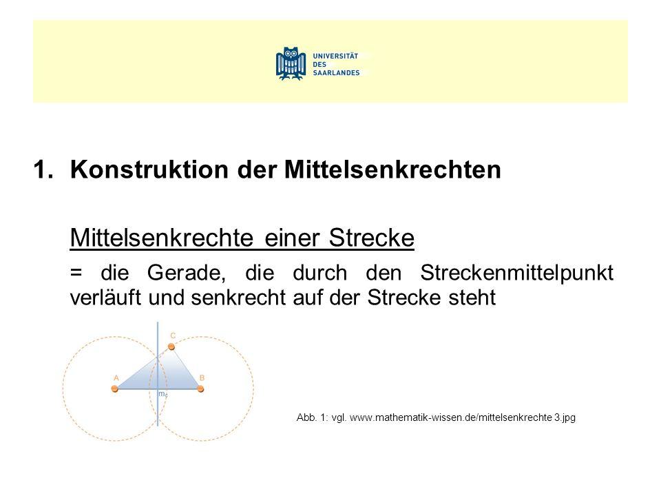 1.Konstruktion der Mittelsenkrechten Mittelsenkrechte einer Strecke = die Gerade, die durch den Streckenmittelpunkt verläuft und senkrecht auf der Strecke steht Abb.