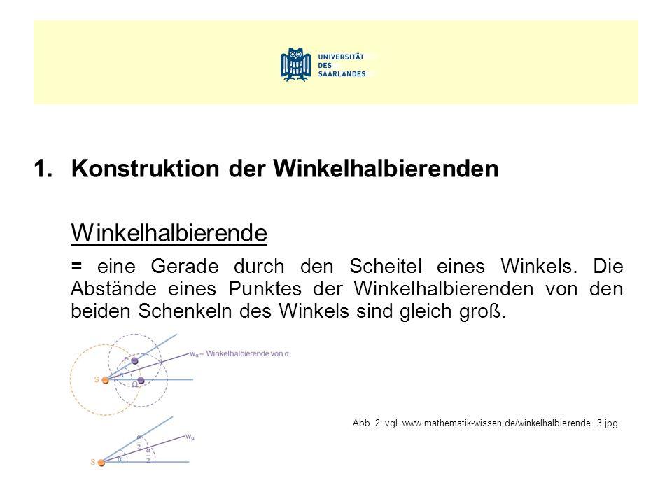 1.Konstruktion der Winkelhalbierenden Winkelhalbierende = eine Gerade durch den Scheitel eines Winkels. Die Abstände eines Punktes der Winkelhalbieren