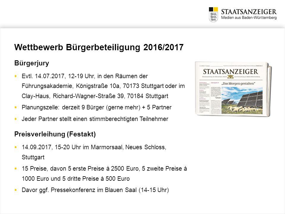 Wettbewerb Bürgerbeteiligung 2016/2017 Bürgerjury  Evtl. 14.07.2017, 12-19 Uhr, in den Räumen der Führungsakademie, Königstraße 10a, 70173 Stuttgart
