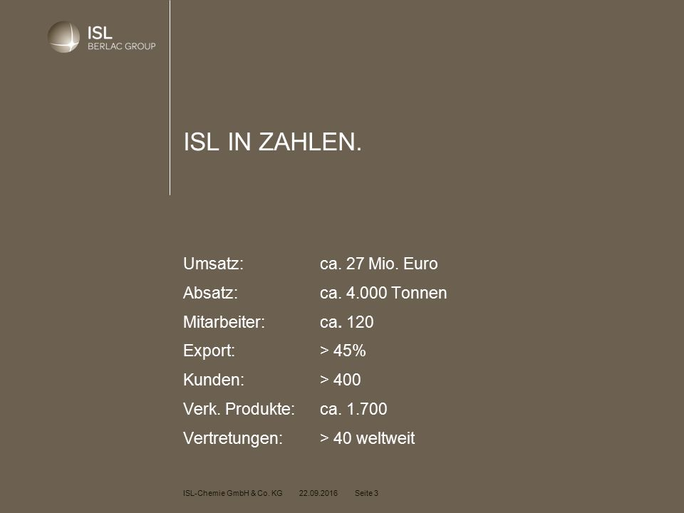 ISL-Chemie GmbH & Co. KG 22.09.2016 Seite 3 ISL IN ZAHLEN.