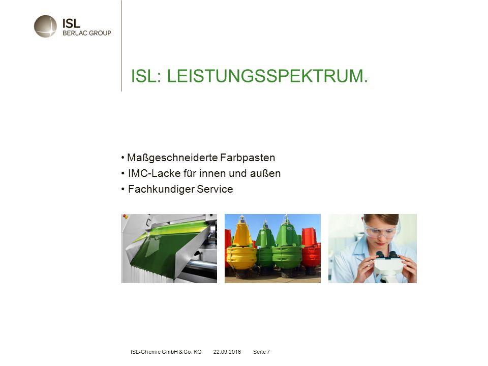 ISL-Chemie GmbH & Co. KG 22.09.2016 Seite 7 ISL: LEISTUNGSSPEKTRUM.