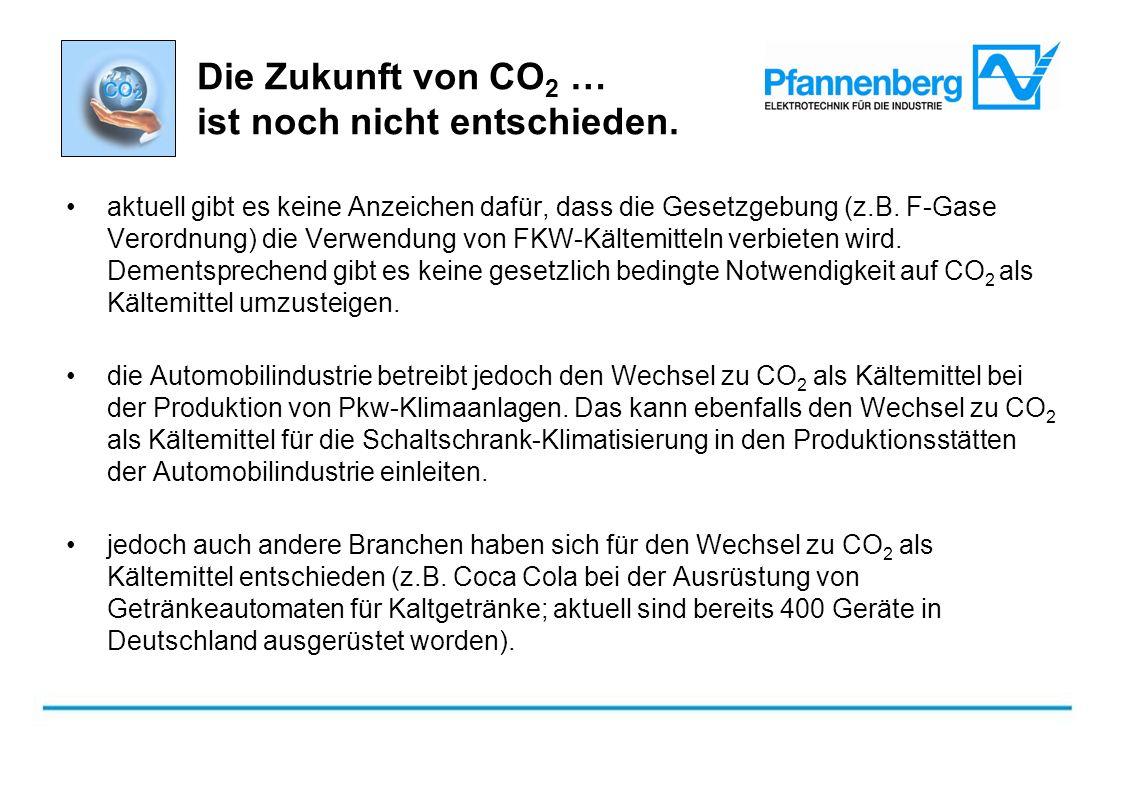 Die Zukunft von CO 2 … ist noch nicht entschieden. aktuell gibt es keine Anzeichen dafür, dass die Gesetzgebung (z.B. F-Gase Verordnung) die Verwendun