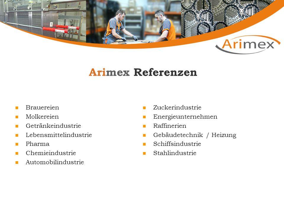 Arimex Referenzen Brauereien Molkereien Getränkeindustrie Lebensmittelindustrie Pharma Chemieindustrie Automobilindustrie Zuckerindustrie Energieunter
