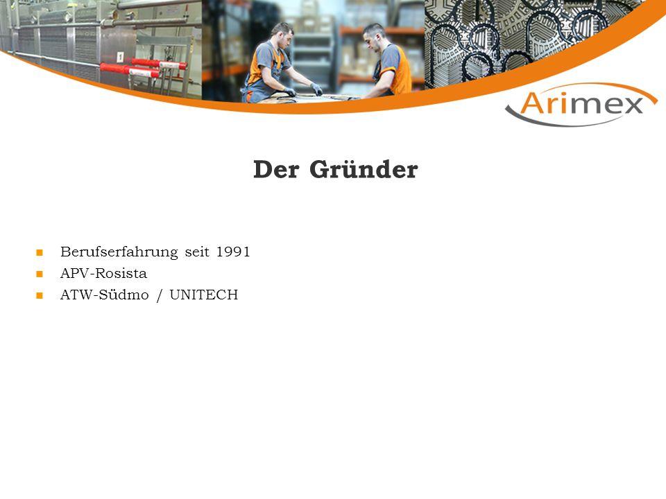 Der Gründer Berufserfahrung seit 1991 APV-Rosista ATW-Südmo / UNITECH