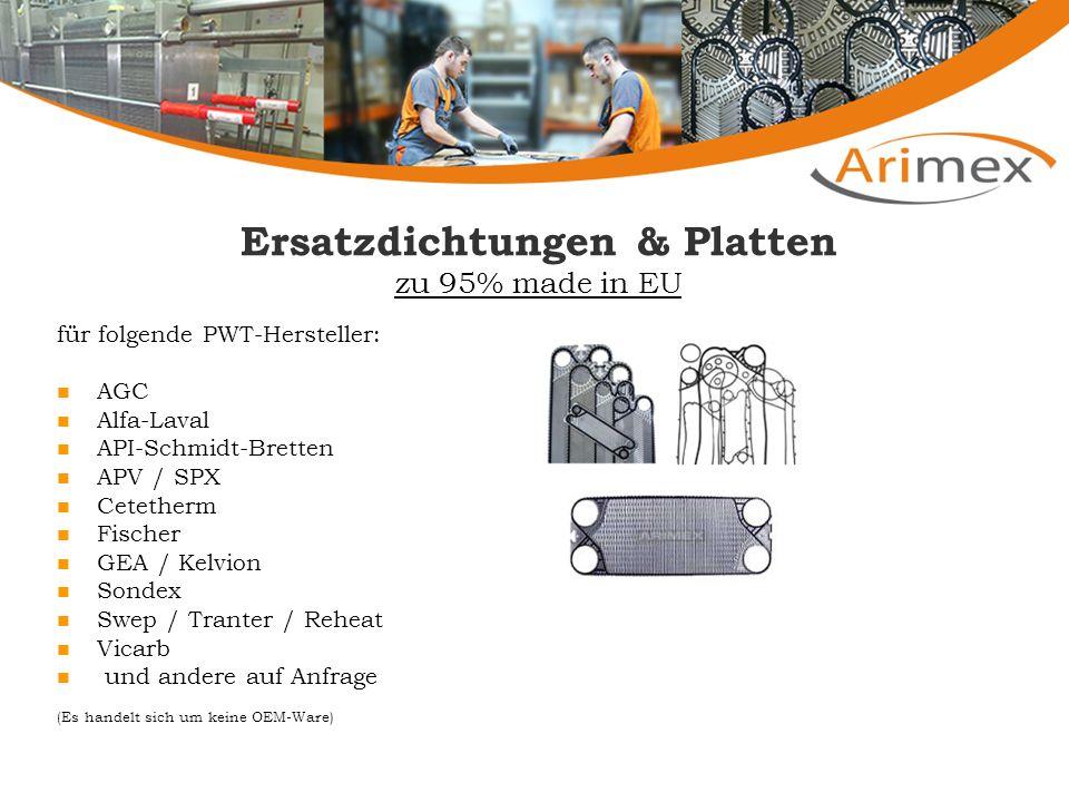 Ersatzdichtungen & Platten zu 95% made in EU für folgende PWT-Hersteller: AGC Alfa-Laval API-Schmidt-Bretten APV / SPX Cetetherm Fischer GEA / Kelvion Sondex Swep / Tranter / Reheat Vicarb und andere auf Anfrage (Es handelt sich um keine OEM-Ware)