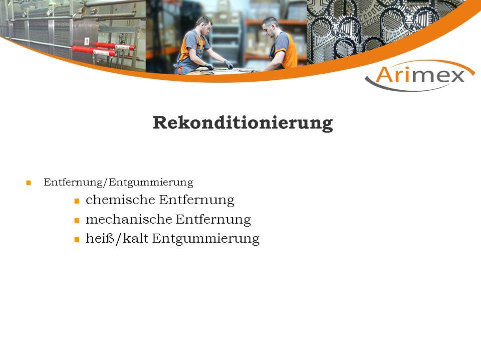 Rekonditionierung Reinigung der Platten chemische Reinigung mechanische Reinigung