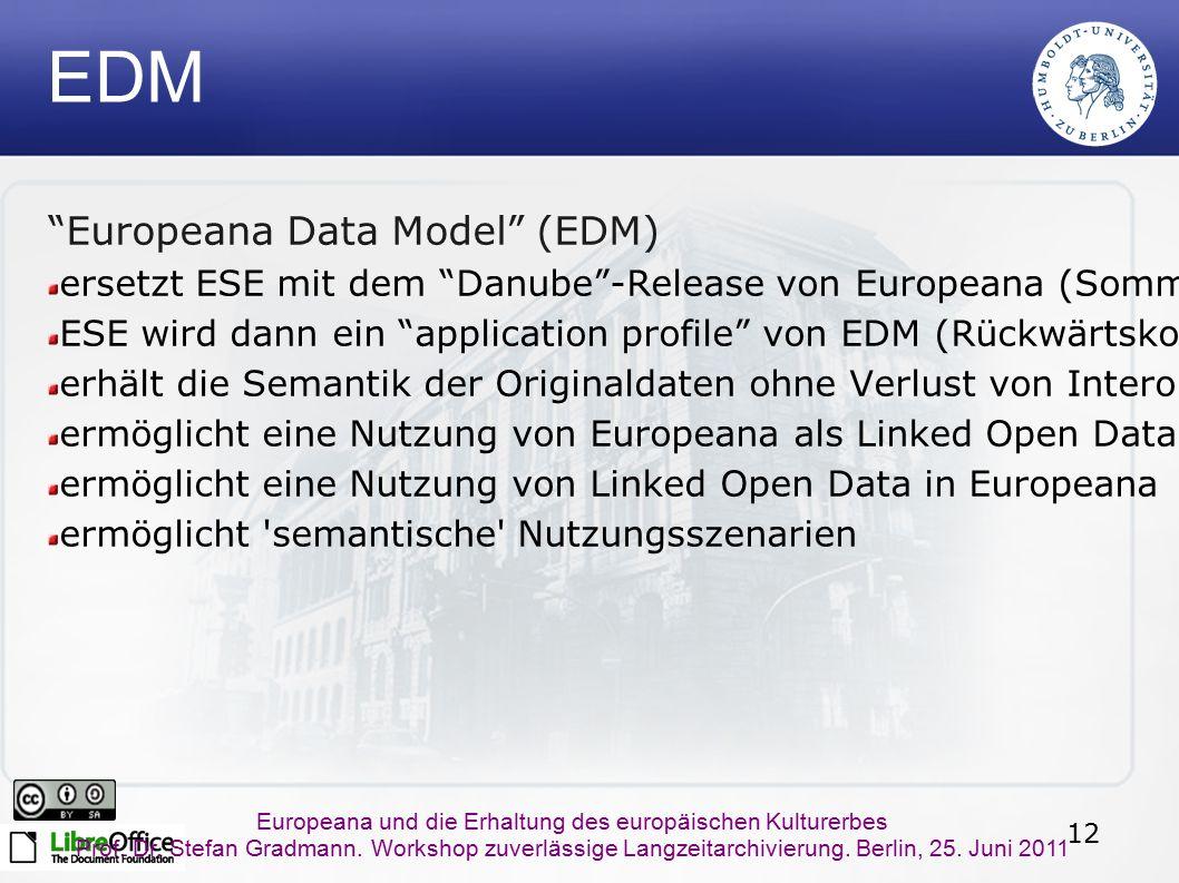 12 Europeana und die Erhaltung des europäischen Kulturerbes Prof. Dr. Stefan Gradmann. Workshop zuverlässige Langzeitarchivierung. Berlin, 25. Juni 20