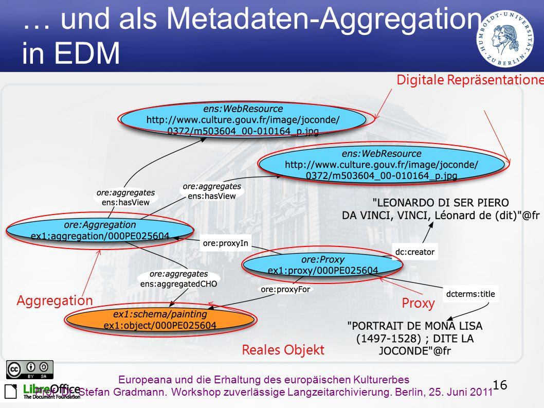 16 Europeana und die Erhaltung des europäischen Kulturerbes Prof. Dr. Stefan Gradmann. Workshop zuverlässige Langzeitarchivierung. Berlin, 25. Juni 20