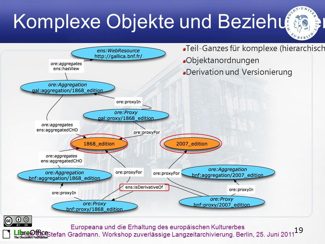 19 Europeana und die Erhaltung des europäischen Kulturerbes Prof. Dr. Stefan Gradmann. Workshop zuverlässige Langzeitarchivierung. Berlin, 25. Juni 20