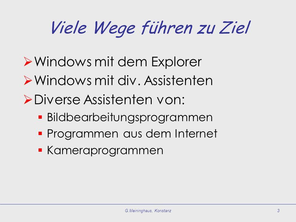 Viele Wege führen zu Ziel  Windows mit dem Explorer  Windows mit div.