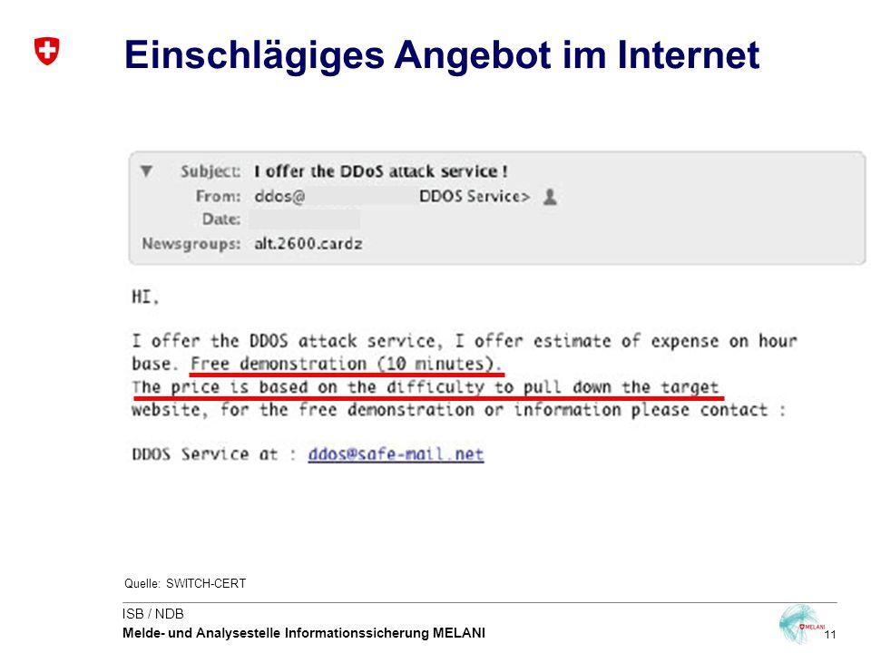 11 ISB / NDB Melde- und Analysestelle Informationssicherung MELANI Einschlägiges Angebot im Internet Quelle: SWITCH-CERT