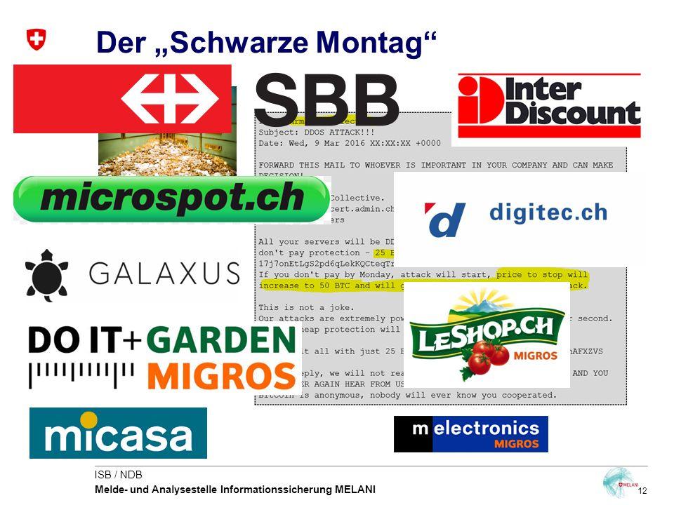 """12 ISB / NDB Melde- und Analysestelle Informationssicherung MELANI Der """"Schwarze Montag"""""""