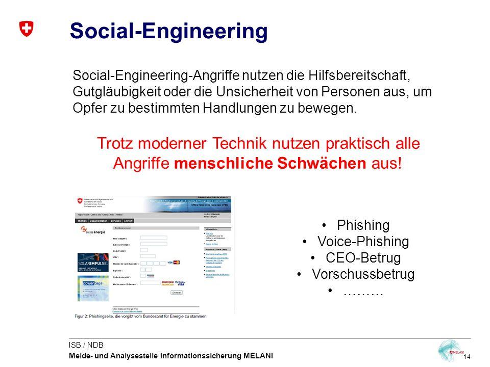 14 ISB / NDB Melde- und Analysestelle Informationssicherung MELANI Social-Engineering Social-Engineering-Angriffe nutzen die Hilfsbereitschaft, Gutglä