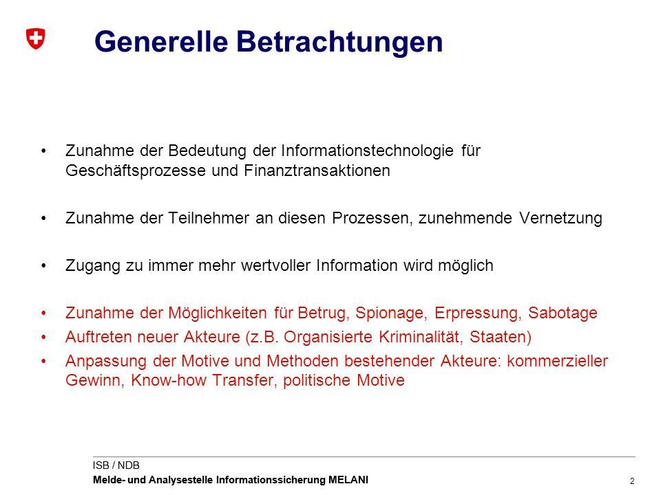 13 ISB / NDB Melde- und Analysestelle Informationssicherung MELANI Phishing (Kunstwort aus: Password, Harvesting und Fishing)