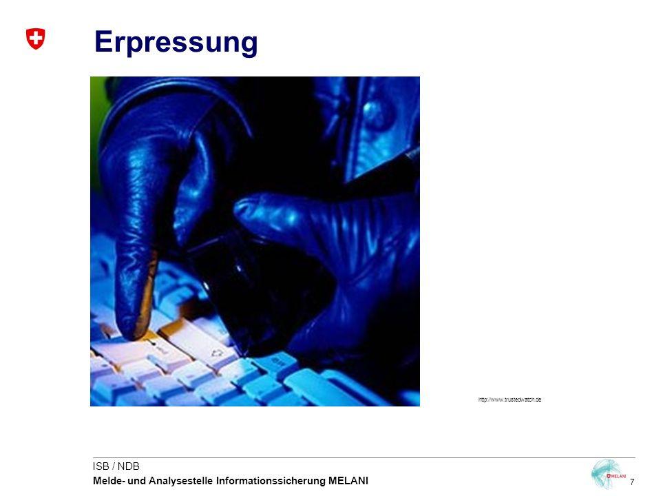 7 ISB / NDB Melde- und Analysestelle Informationssicherung MELANI Erpressung http://www.trustedwatch.de