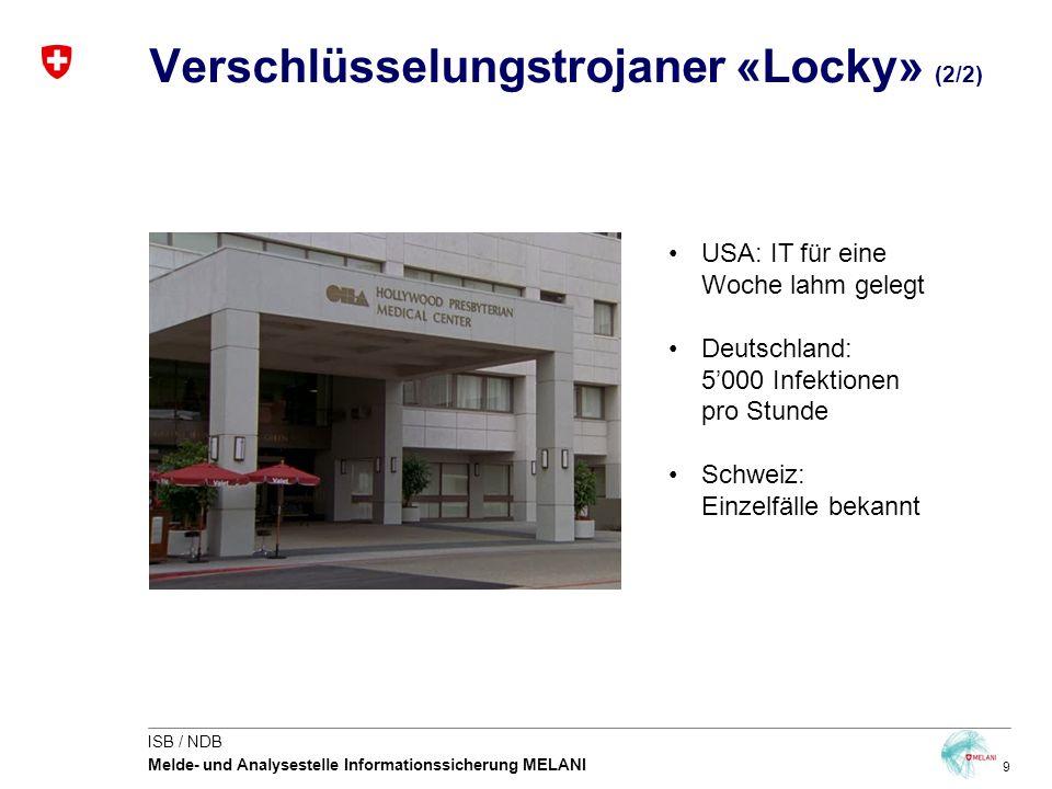 9 ISB / NDB Melde- und Analysestelle Informationssicherung MELANI Verschlüsselungstrojaner «Locky» (2/2) USA: IT für eine Woche lahm gelegt Deutschlan