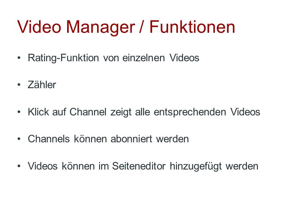Video Manager / Funktionen Rating-Funktion von einzelnen Videos Zähler Klick auf Channel zeigt alle entsprechenden Videos Channels können abonniert we
