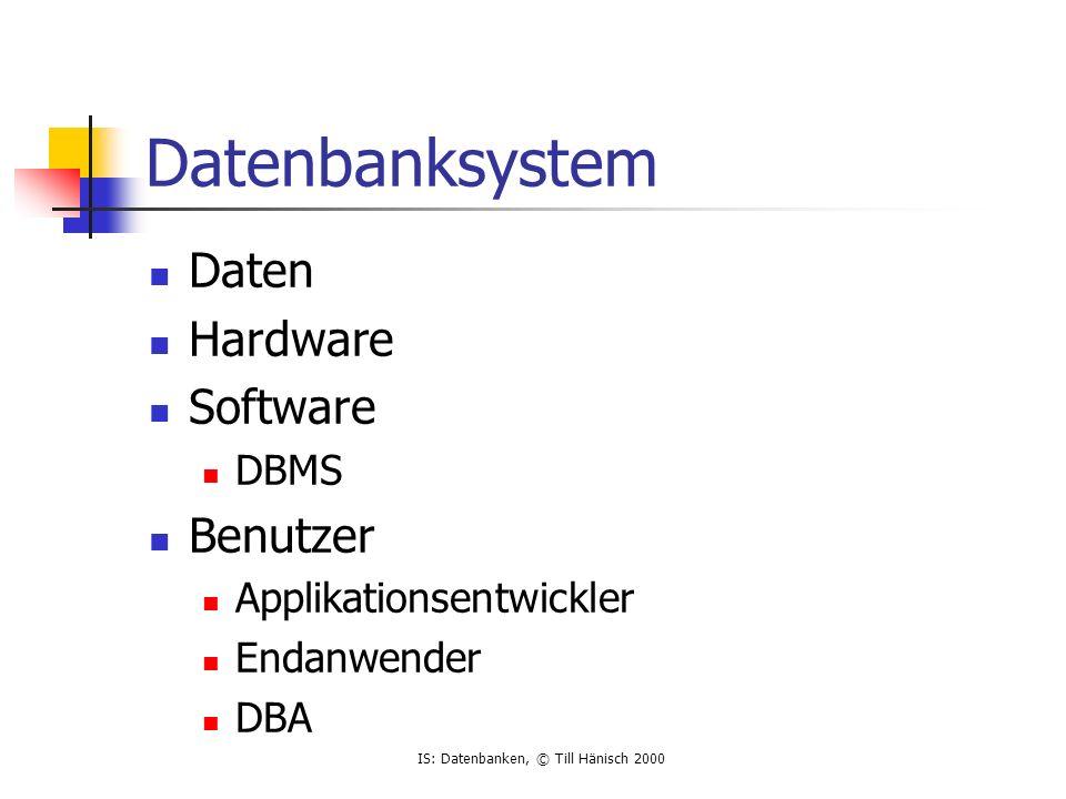 IS: Datenbanken, © Till Hänisch 2000 Datenbanksystem Daten Hardware Software DBMS Benutzer Applikationsentwickler Endanwender DBA