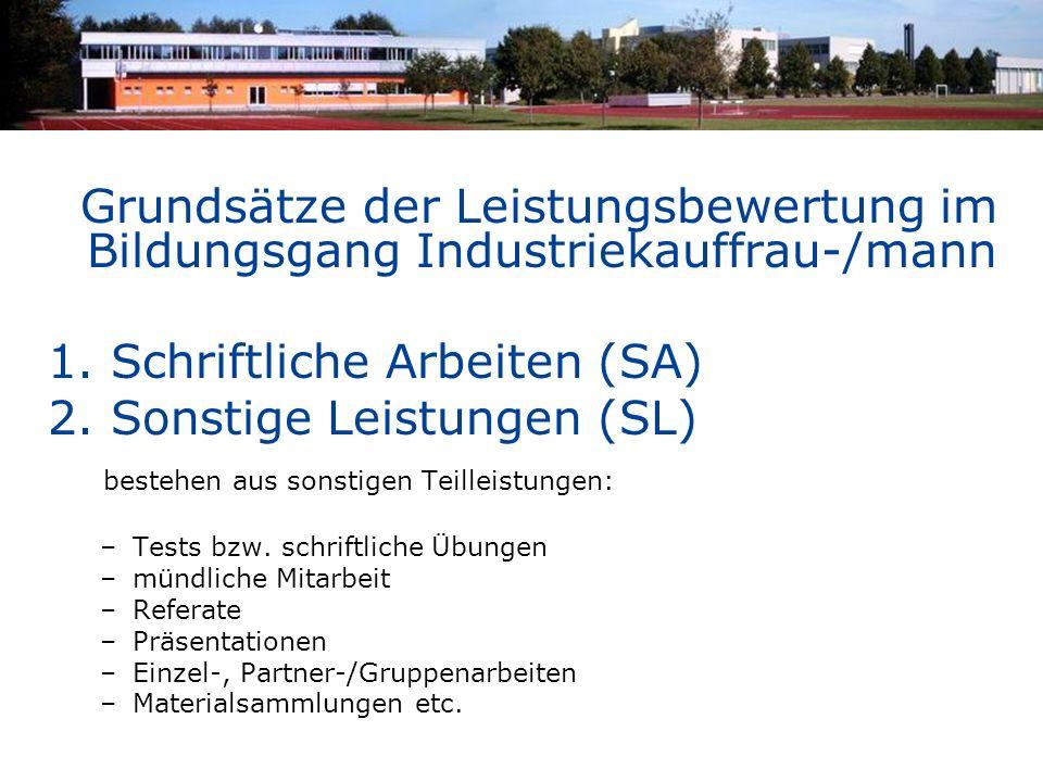 Grundsätze der Leistungsbewertung im Bildungsgang Industriekauffrau-/mann 1. Schriftliche Arbeiten (SA) 2. Sonstige Leistungen (SL) bestehen aus sonst