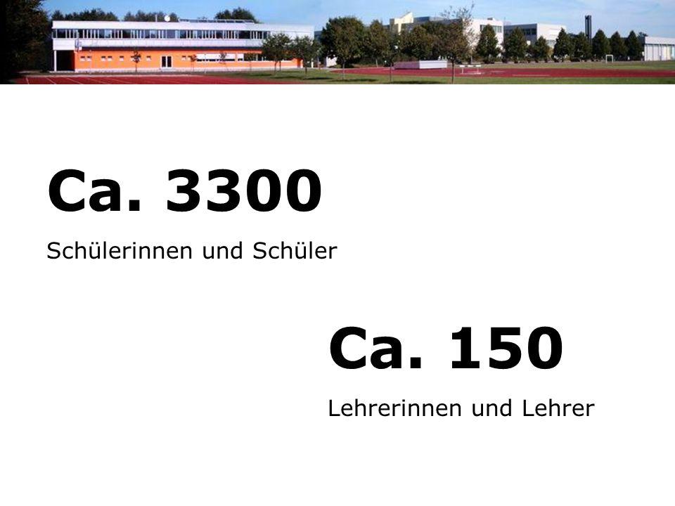 Ca. 3300 Schülerinnen und Schüler Ca. 150 Lehrerinnen und Lehrer