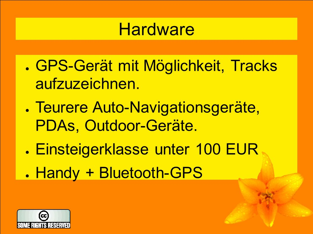 5 Freie Software für OSM ● mobiletrailexplorer (j2me) ● gpsbabel: gpx-Tracks konvertieren, filtern ● josm: Java OpenStreetMap Editor (alternativ potlach, merkaartor) ● mapnik, osmarender, tiles@home ● OpenLayers ● navit