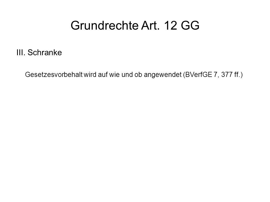 Grundrechte Art. 12 GG III.