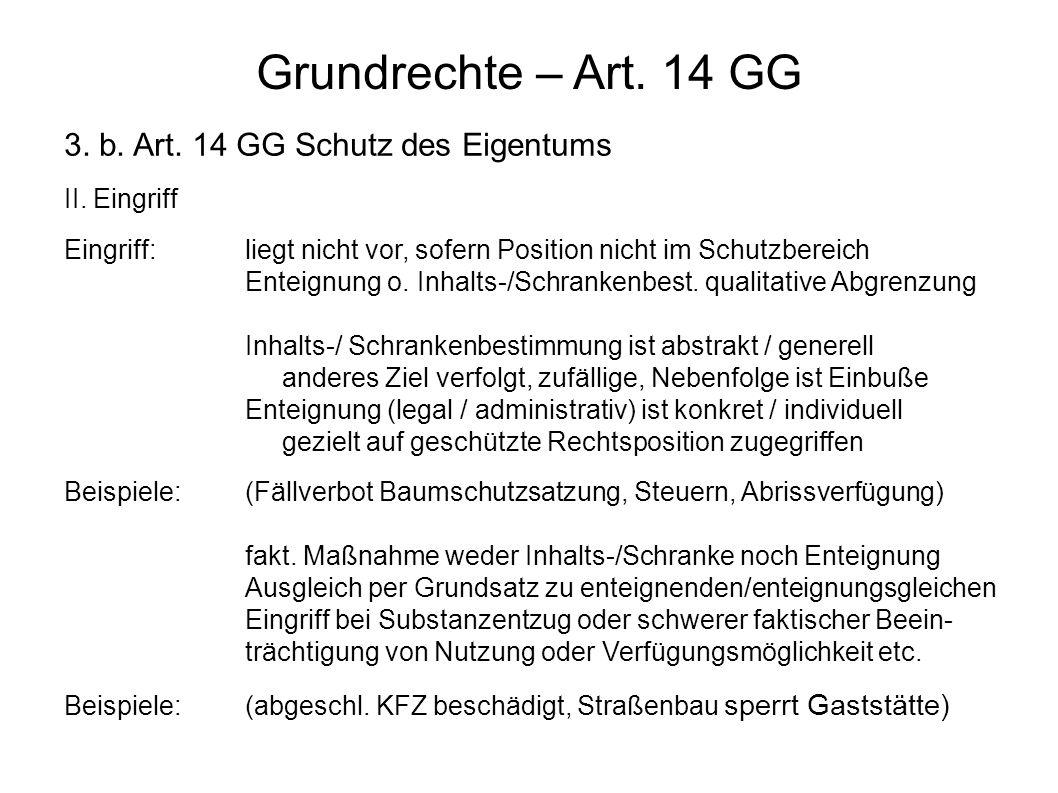 Grundrechte – Art. 14 GG 3. b. Art. 14 GG Schutz des Eigentums II.