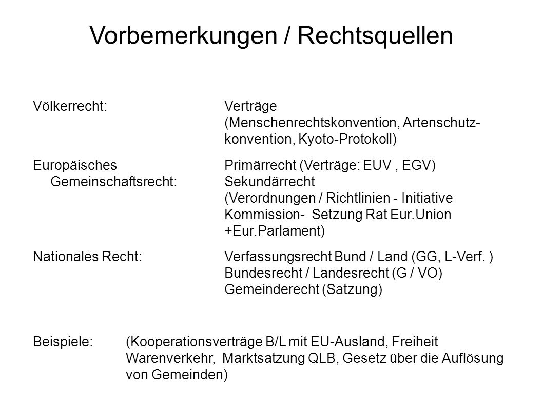 Vorbemerkung Gliederung nationalen Rechts Zivilrecht ( Bürger untereinander: BGB, GmbHG – Schönfelderprobe ) AG, LG, OLG, BGH, Arbeitsgericht, Landesarbeitsgericht Strafrecht ( Staat-Bürger: StGB, NebenStrR, - Straf-Schönfelderprobe ) AG, LG, OLG, BGH Öffentliches Recht ( Bürger-Staat: GG, VwVfG, SGB– Sartoriuspr.