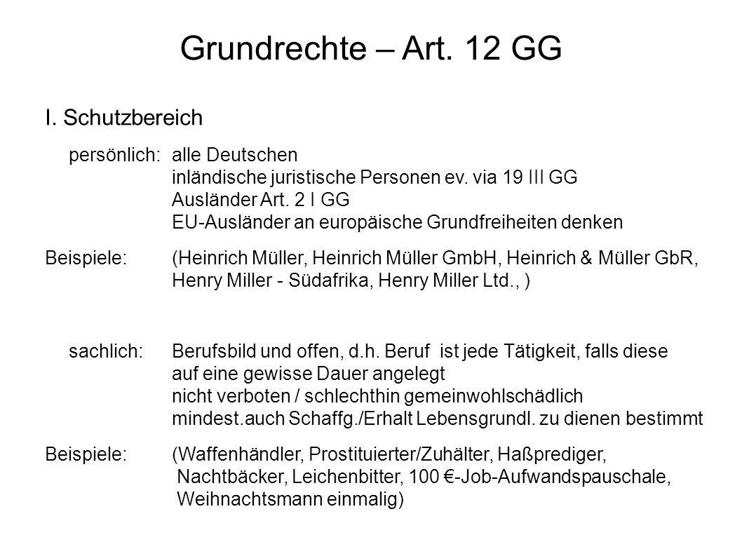 Grundrechte – Art. 12 GG I. Schutzbereich persönlich:alle Deutschen inländische juristische Personen ev. via 19 III GG Ausländer Art. 2 I GG EU-Auslän