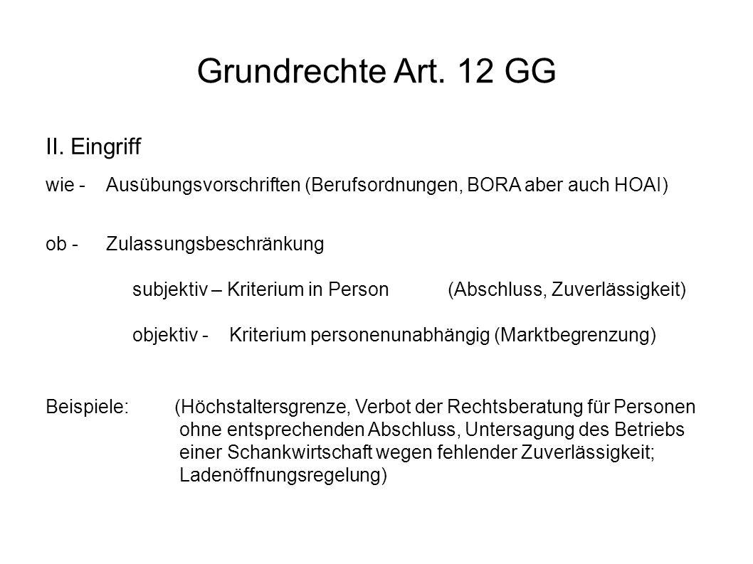 Grundrechte Art.12 GG III.