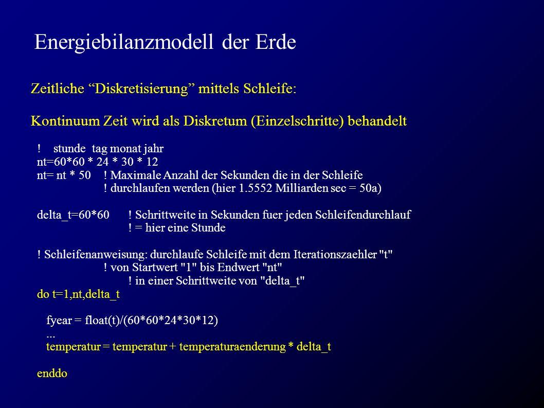 """Energiebilanzmodell der Erde Zeitliche """"Diskretisierung"""" mittels Schleife: Kontinuum Zeit wird als Diskretum (Einzelschritte) behandelt ! stunde tag m"""