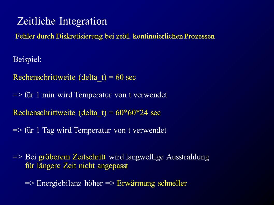 Zeitliche Integration Fehler durch Diskretisierung bei zeitl. kontinuierlichen Prozessen Beispiel: Rechenschrittweite (delta_t) = 60 sec => für 1 min