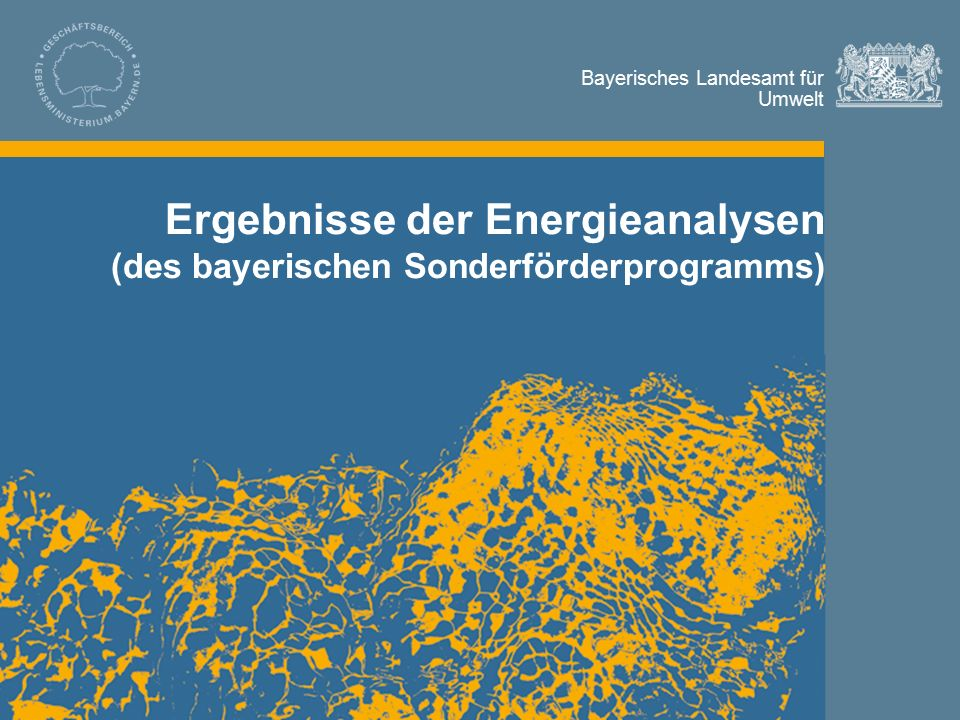 Bayerisches Landesamt für Umwelt © LfU / Referat 67 / Bleisteiner / 27.10.20112 Inhalt Inhalt und Bilanz des Sonderförderprogramms Energieanalysen Maßnahmenschwerpunkte Kennzahlen und Vergleichsdaten zur energetischen Selbsteinschätzung Ergebnisse der Energieanalysen (des bayerischen Sonderförderprogramms)