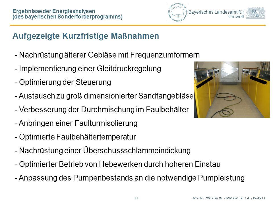 Bayerisches Landesamt für Umwelt © LfU / Referat 67 / Bleisteiner / 27.10.201111 - Nachrüstung älterer Gebläse mit Frequenzumformern - Implementierung einer Gleitdruckregelung - Optimierung der Steuerung - Austausch zu groß dimensionierter Sandfangebläse - Verbesserung der Durchmischung im Faulbehälter - Anbringen einer Faulturmisolierung - Optimierte Faulbehältertemperatur - Nachrüstung einer Überschussschlammeindickung - Optimierter Betrieb von Hebewerken durch höheren Einstau - Anpassung des Pumpenbestands an die notwendige Pumpleistung Aufgezeigte Kurzfristige Maßnahmen Ergebnisse der Energieanalysen (des bayerischen Sonderförderprogramms)