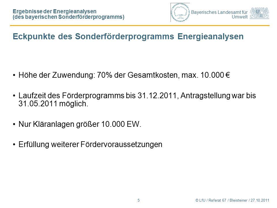 Bayerisches Landesamt für Umwelt © LfU / Referat 67 / Bleisteiner / 27.10.20115 Eckpunkte des Sonderförderprogramms Energieanalysen Höhe der Zuwendung: 70% der Gesamtkosten, max.
