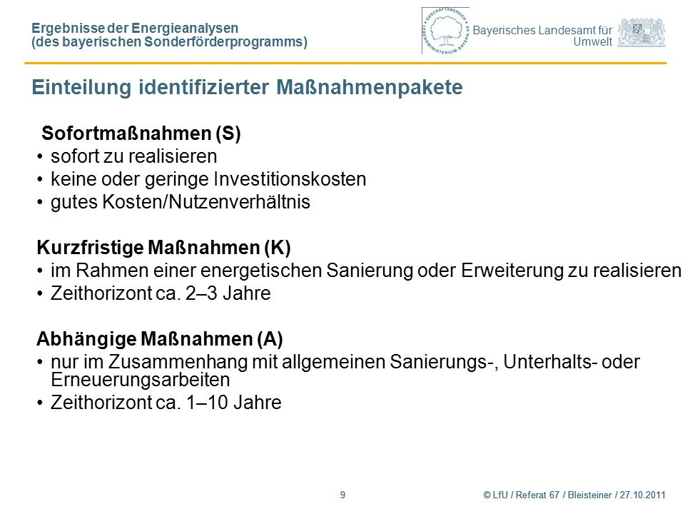 Bayerisches Landesamt für Umwelt © LfU / Referat 67 / Bleisteiner / 27.10.20119 9 Sofortmaßnahmen (S) sofort zu realisieren keine oder geringe Investitionskosten gutes Kosten/Nutzenverhältnis Kurzfristige Maßnahmen (K) im Rahmen einer energetischen Sanierung oder Erweiterung zu realisieren Zeithorizont ca.