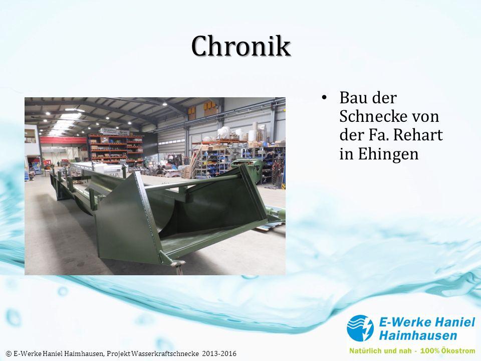 Chronik Bau der Schnecke von der Fa. Rehart in Ehingen © E-Werke Haniel Haimhausen, Projekt Wasserkraftschnecke 2013-2016