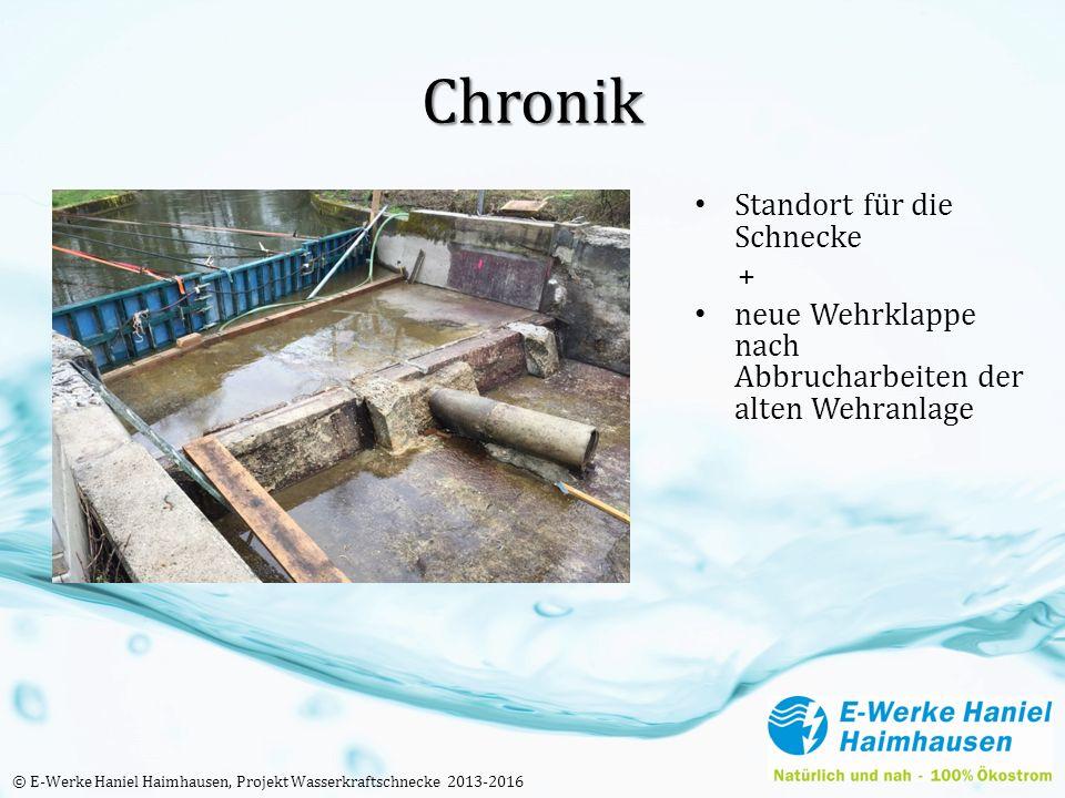 Chronik Standort für die Schnecke + neue Wehrklappe nach Abbrucharbeiten der alten Wehranlage © E-Werke Haniel Haimhausen, Projekt Wasserkraftschnecke 2013-2016
