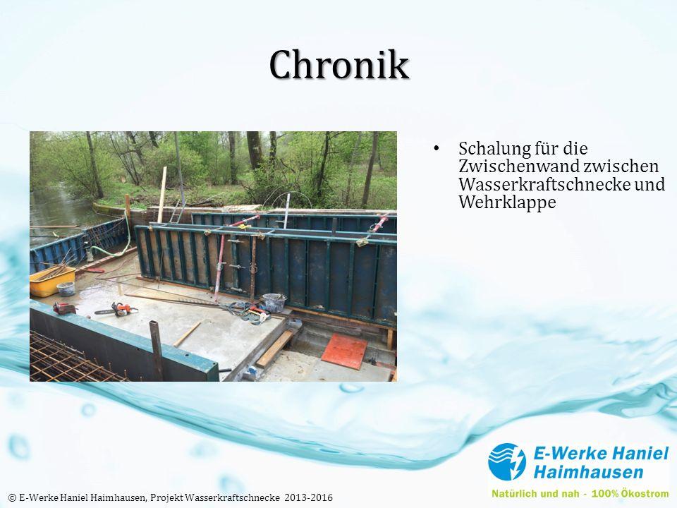 Chronik Schalung für die Zwischenwand zwischen Wasserkraftschnecke und Wehrklappe © E-Werke Haniel Haimhausen, Projekt Wasserkraftschnecke 2013-2016