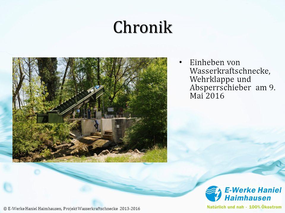 Chronik Einheben von Wasserkraftschnecke, Wehrklappe und Absperrschieber am 9. Mai 2016 © E-Werke Haniel Haimhausen, Projekt Wasserkraftschnecke 2013-