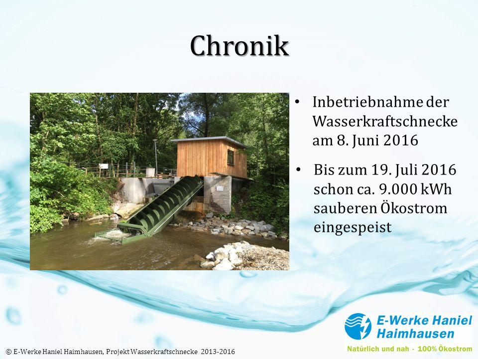 Chronik Inbetriebnahme der Wasserkraftschnecke am 8. Juni 2016 Bis zum 19. Juli 2016 schon ca. 9.000 kWh sauberen Ökostrom eingespeist © E-Werke Hanie