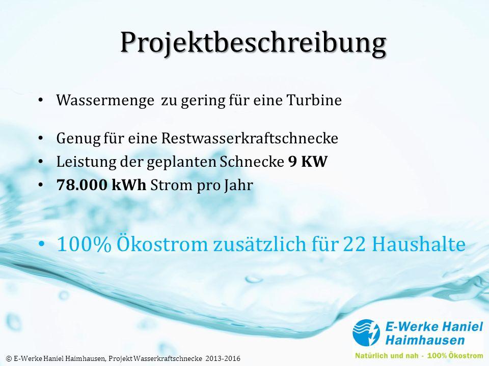 Projektbeschreibung Wassermenge zu gering für eine Turbine Genug für eine Restwasserkraftschnecke Leistung der geplanten Schnecke 9 KW 78.000 kWh Strom pro Jahr 100% Ökostrom zusätzlich für 22 Haushalte © E-Werke Haniel Haimhausen, Projekt Wasserkraftschnecke 2013-2016