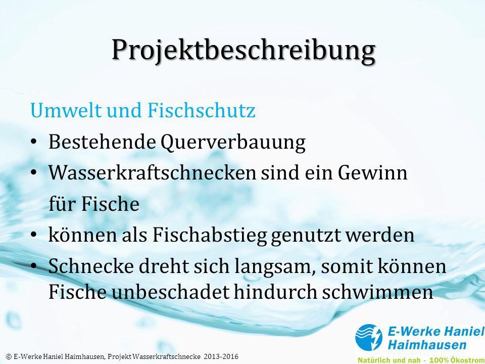 Projektbeschreibung Umwelt und Fischschutz Bestehende Querverbauung Wasserkraftschnecken sind ein Gewinn für Fische können als Fischabstieg genutzt we