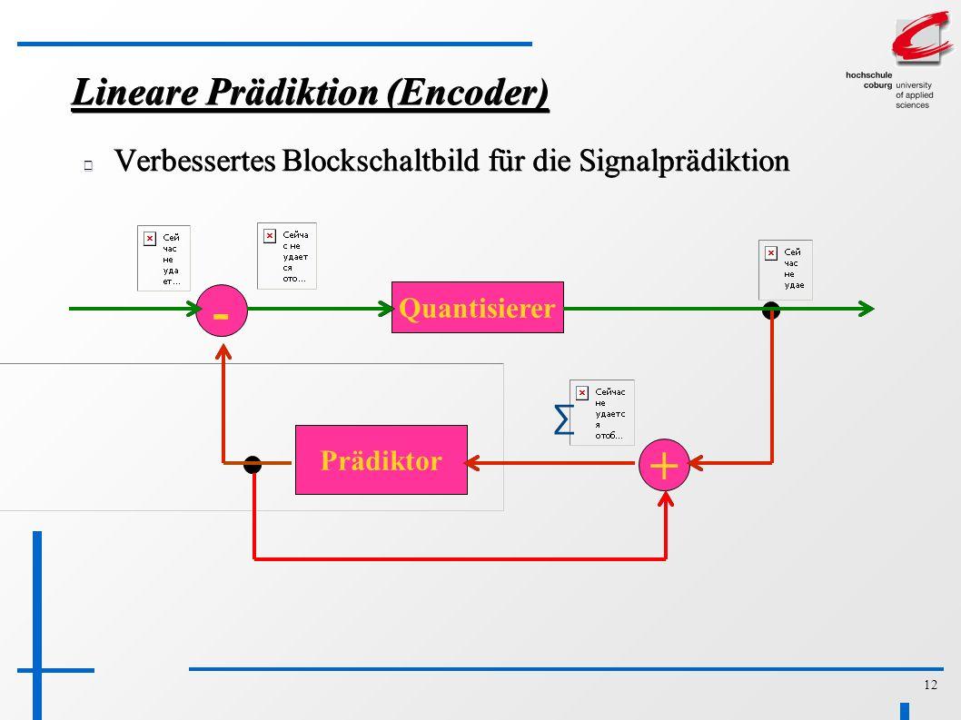 12 Lineare Prädiktion (Encoder) Verbessertes Blockschaltbild für die Signalprädiktion - Quantisierer Prädiktor + ∑